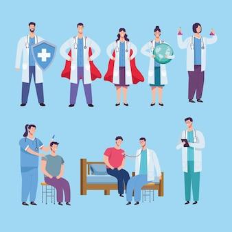 Grupo de equipe de médicos e ilustração de pacientes