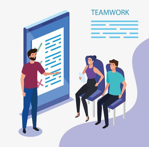 Grupo de equipe de trabalho com dispositivo de smartphone
