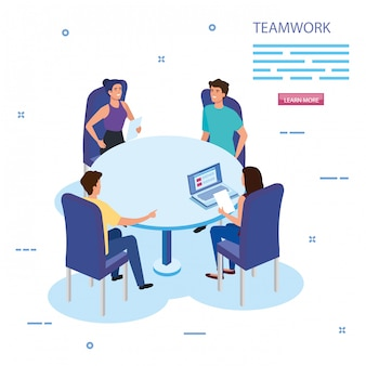Grupo de equipe de trabalho na reunião de caracteres de avatar