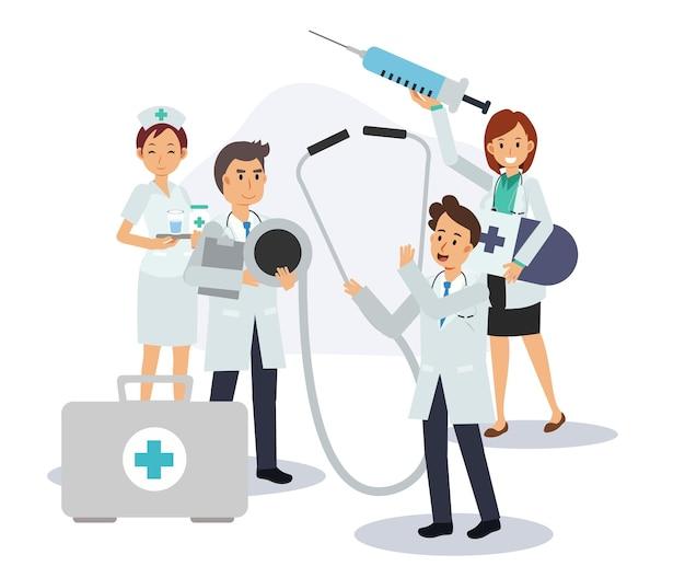 Grupo de equipe médica carregando equipamentos de saúde. equipe de médicos. médicos masculinos e femininos. ilustração de personagem de desenho animado em vetor plana.