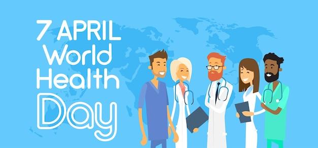 Grupo de equipe médica sobre o mapa do mundo