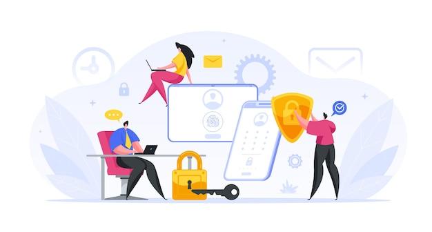 Grupo de especialistas bancários configuram a proteção web do conceito de contas de cliente. personagens masculinos e femininos estão realizando projeto de lei. teste de segurança biométrica de contas de depósito financeiro