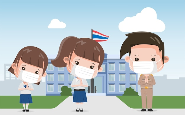 Grupo de estudante tailandês e professor tailandês cumprimentando com pose de personagem namaste. pessoas de estilo de vida de bangkok tailândia.