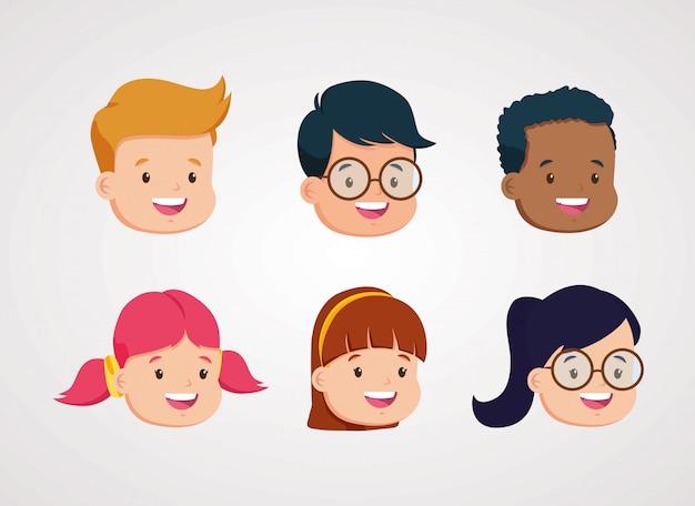 Grupo de estudantes crianças cabeças personagens