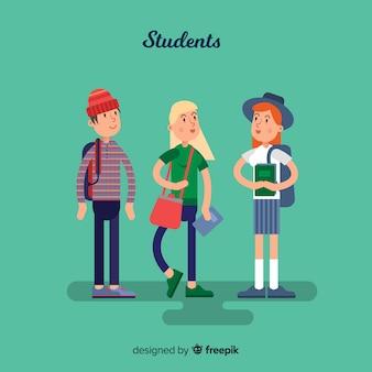 Grupo de estudantes felizes com design plano