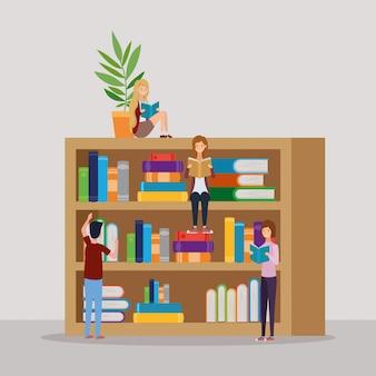 Grupo de estudantes lendo livros na biblioteca