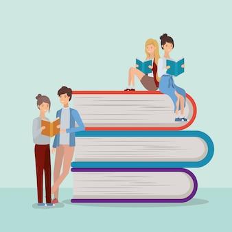 Grupo de estudantes lendo livros