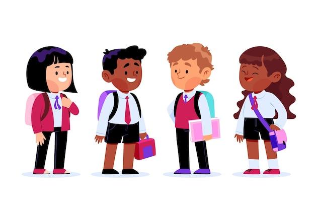 Grupo de estudantes na escola ilustrada