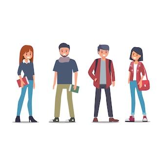 Grupo de estudantes universitários de volta à escola plana