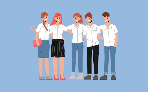 Grupo de estudioso e colegial em caráter de amizade.