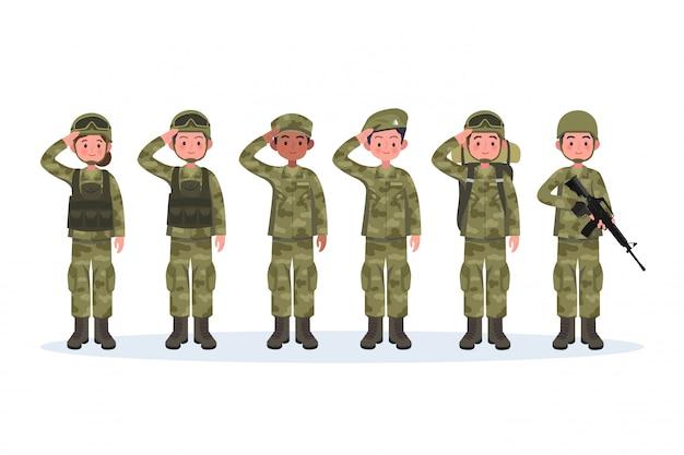 Grupo de exército, homens e mulheres, em saudação de uniforme de combate de camuflagem.
