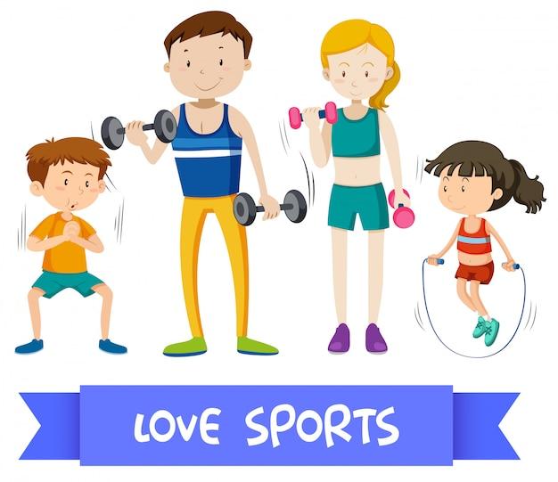 Grupo de família do esporte