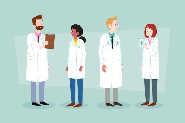 Grupo de farmacêuticos diferentes