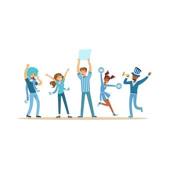 Grupo de fãs de esporte com roupa azul, apoiando sua equipe, gritando e aplaudindo ilustração