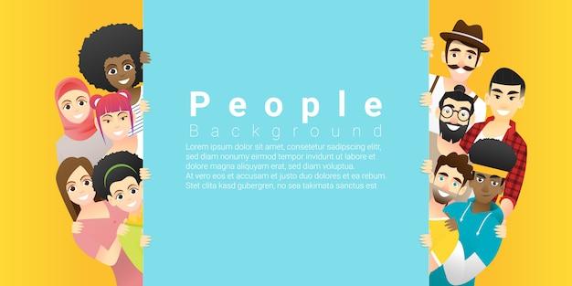 Grupo de feliz multi étnica pessoas em pé atrás de tabuleiro vazio colorido