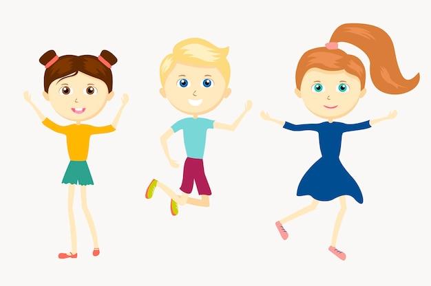 Grupo de feliz personagem fofa pulando crianças. crianças de desenhos animados bonitos praticam esportes.