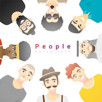 Grupo de felizes multi étnica homens