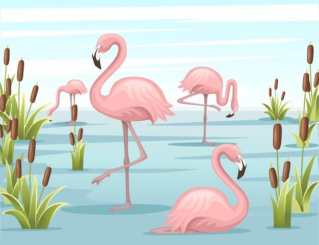Grupo de flamingo rosa parado na ilustração do lago de água