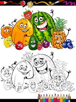Grupo de frutas dos desenhos animados para livro para colorir