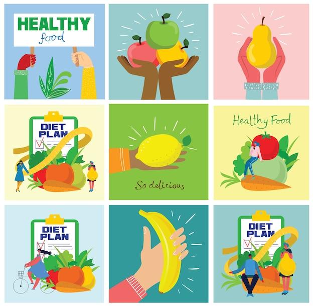 Grupo de frutas frescas com as mãos. conceito de dieta. ilustrações vetoriais em estilo plano