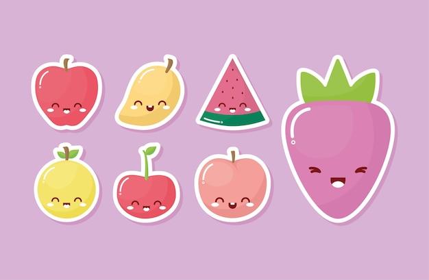 Grupo de frutas kawaii com um sorriso no fundo rosa.