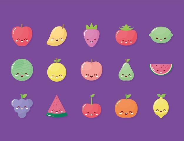 Grupo de frutas kawaii com um sorriso no fundo roxo.