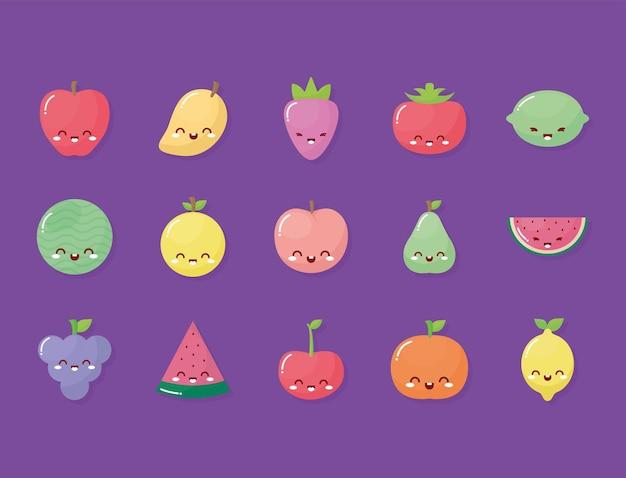 Grupo de frutas kawaii com um sorriso roxo
