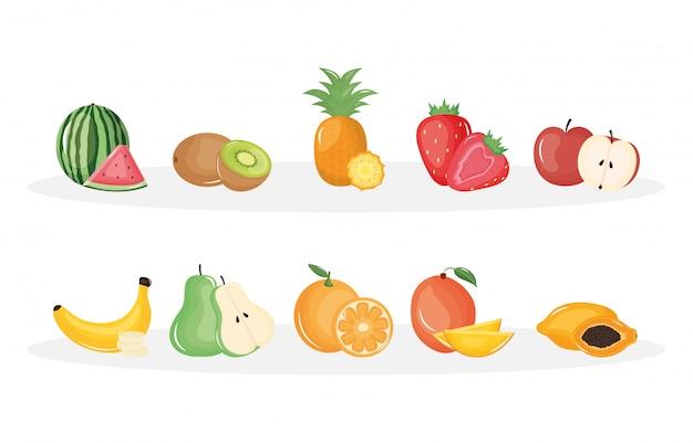 Grupo de frutas tropicais e frescas
