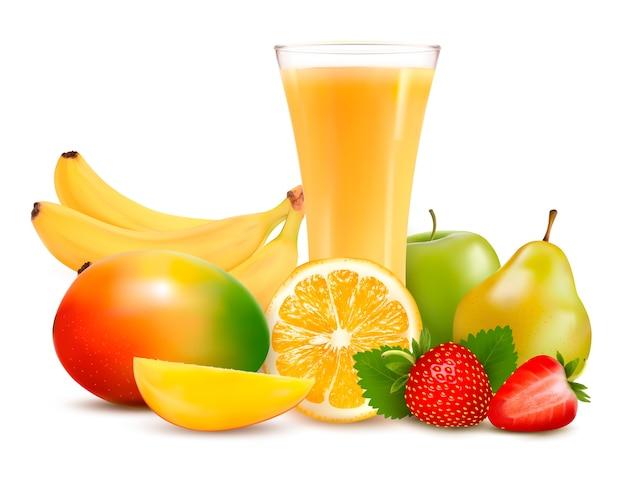 Grupo de frutas tropicais e verão