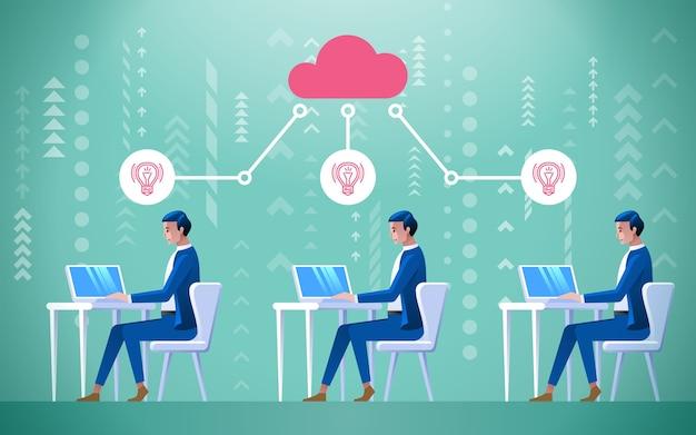 Grupo de funcionários conectado a uma grande nuvem coletiva de ideias.