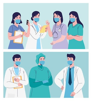 Grupo de funcionários médicos. equipe de profissionais de saúde