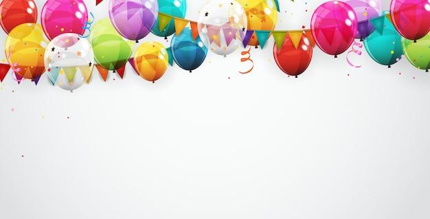 Grupo de fundo de balões de hélio brilhante cor