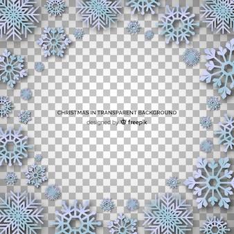 Grupo de fundo transparente de ornamentos de floco de neve