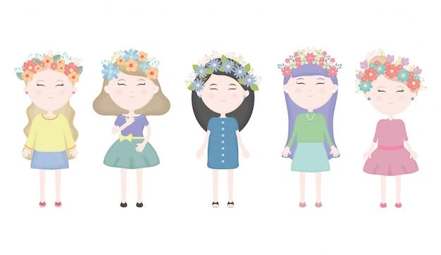 Grupo de garotas bonitas com coroa floral nos personagens de cabelo