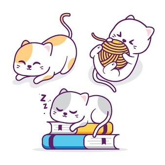 Grupo de gato fofo com atividades diferentes