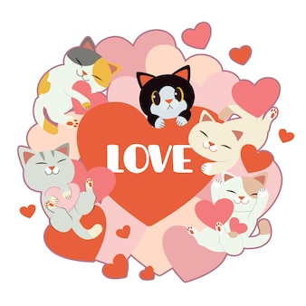 Grupo de gato fofo e amigos com muito coração em branco