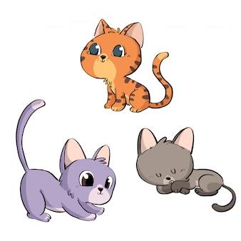 Grupo de gatos adoráveis