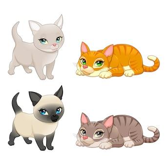 Grupo de gatos bonitos com cores diferentes do vetor dos desenhos animados isolado caracteres