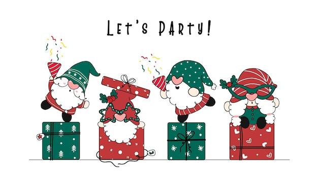 Grupo de gnomo fofo e engraçado com fantasia de papai noel vermelho e verde fazendo festa em caixas de presente de natal