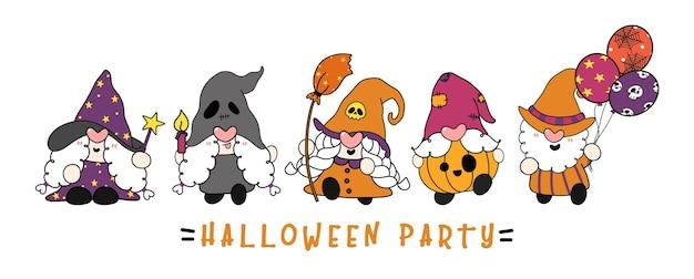 Grupo de gnomo fofo na festa à fantasia de halloween, desenho plano esboço desenhado à mão
