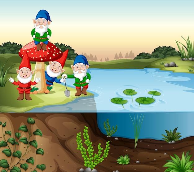 Grupo de gnomos ao lado do pântano em estilo cartoon