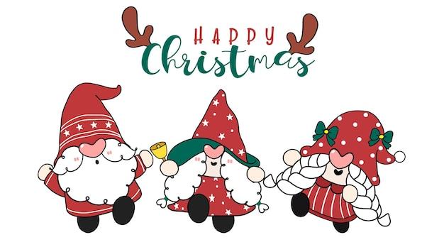 Grupo de gnomos do papai noel fofos de natal feliz em vestido vermelho doodle de desenho animado de feliz natal desenhado à mão