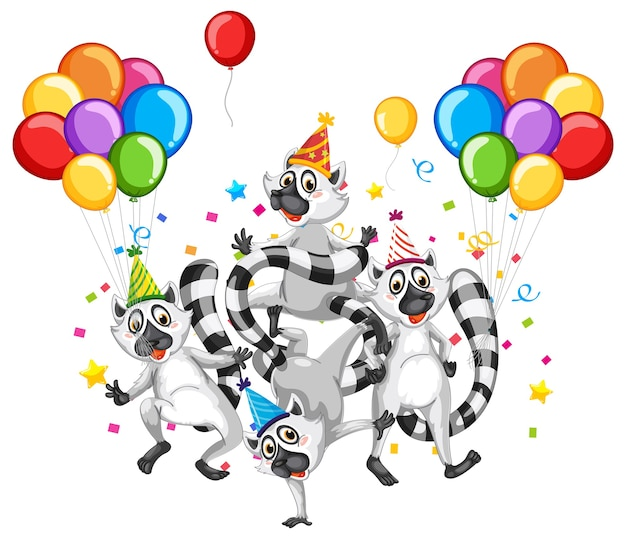 Grupo de guaxinim em personagem de desenho animado com tema de festa em fundo branco