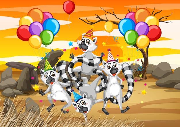 Grupo de guaxinim em personagem de desenho animado com tema de festa na praia