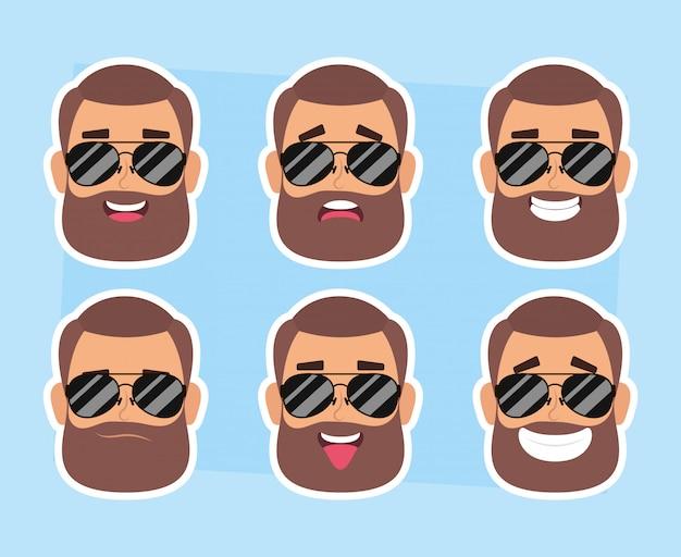 Grupo de homem enfrenta com barba e óculos de sol