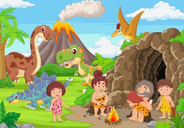 Grupo de homens das cavernas dos desenhos animados e dinossauros na floresta