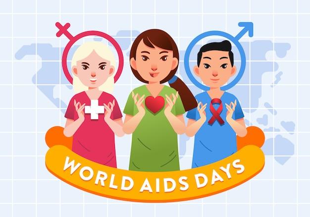 Grupo de homens e mulheres de profissionais de saúde com ilustração do logotipo de coração e aids para pôster dos dias mundiais da aids