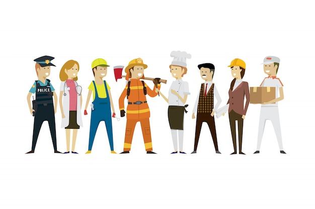 Grupo de homens e mulheres profissões de pessoas