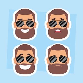 Grupo de homens enfrenta com barba e óculos de sol vector design ilustração