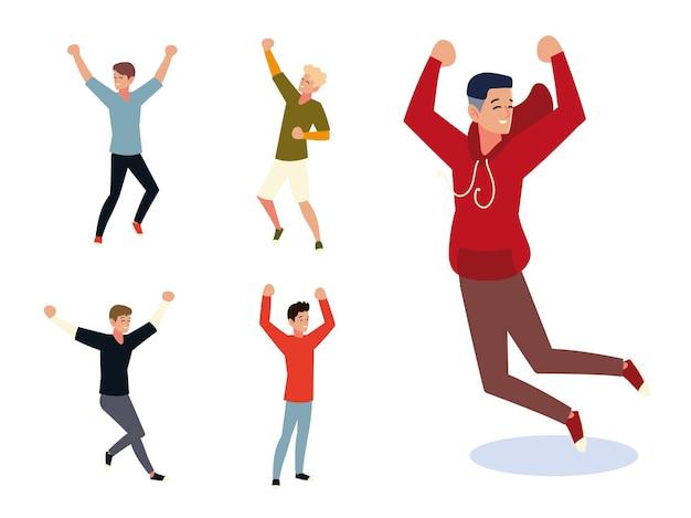 Grupo de homens, pessoas pulando e dançando, celebrando o set